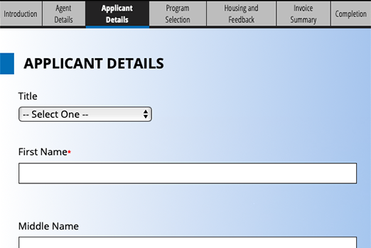 Screenshot of an application with multiple steps and no user registration