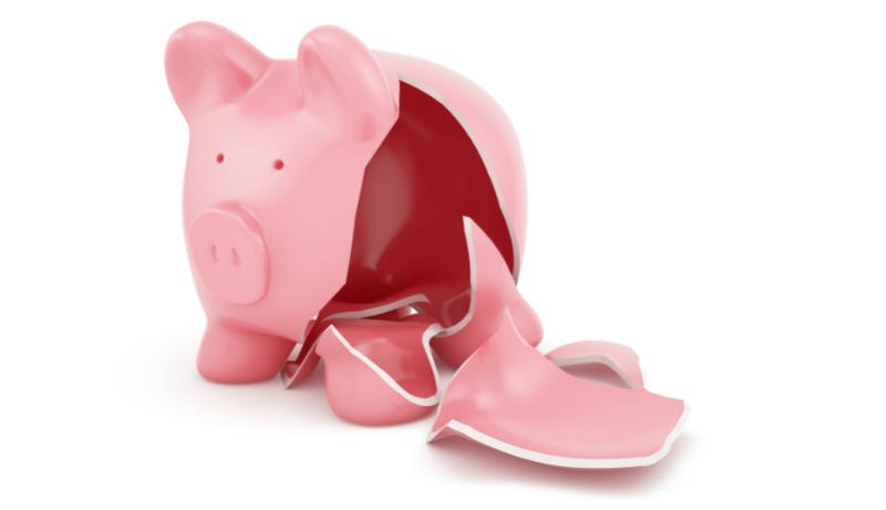 Image of an empty, broken piggy bank
